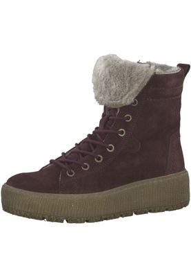 Tamaris 1-26265-21 549 Damen Bordeaux Weinrot Stiefelette Lace-Up Boots mit Warmlining – Bild 1