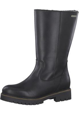 Tamaris 1-26492-21 001 Damen Black Schwarz Leder Stiefel mit Warmlining – Bild 1