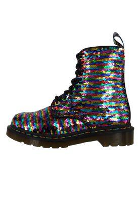 Dr. Martens 1460 24594980 Damen Pascal Sequin Rainbow Multi Silver Mehrfarbig Silber Pailletten 8-Loch – Bild 3
