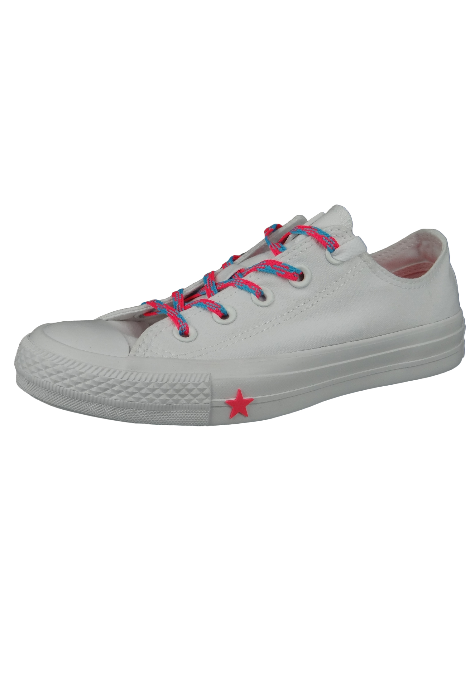 Converse Chucks Weiss 564117C Chuck Taylor All Star OX White Racer Pink Gnarly Blue
