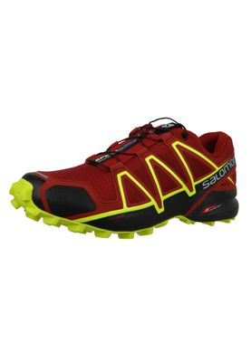 Salomon Herren Schuhe Speedcross 4 Weinrot Laufschuhe 407390 Red Dahlia Black Softy Yellow – Bild 1