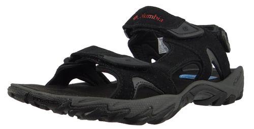 Columbia Men's Outdoor Trekking Sandals Santiam 3 Strap Black Black Mountain Red BM4625-010