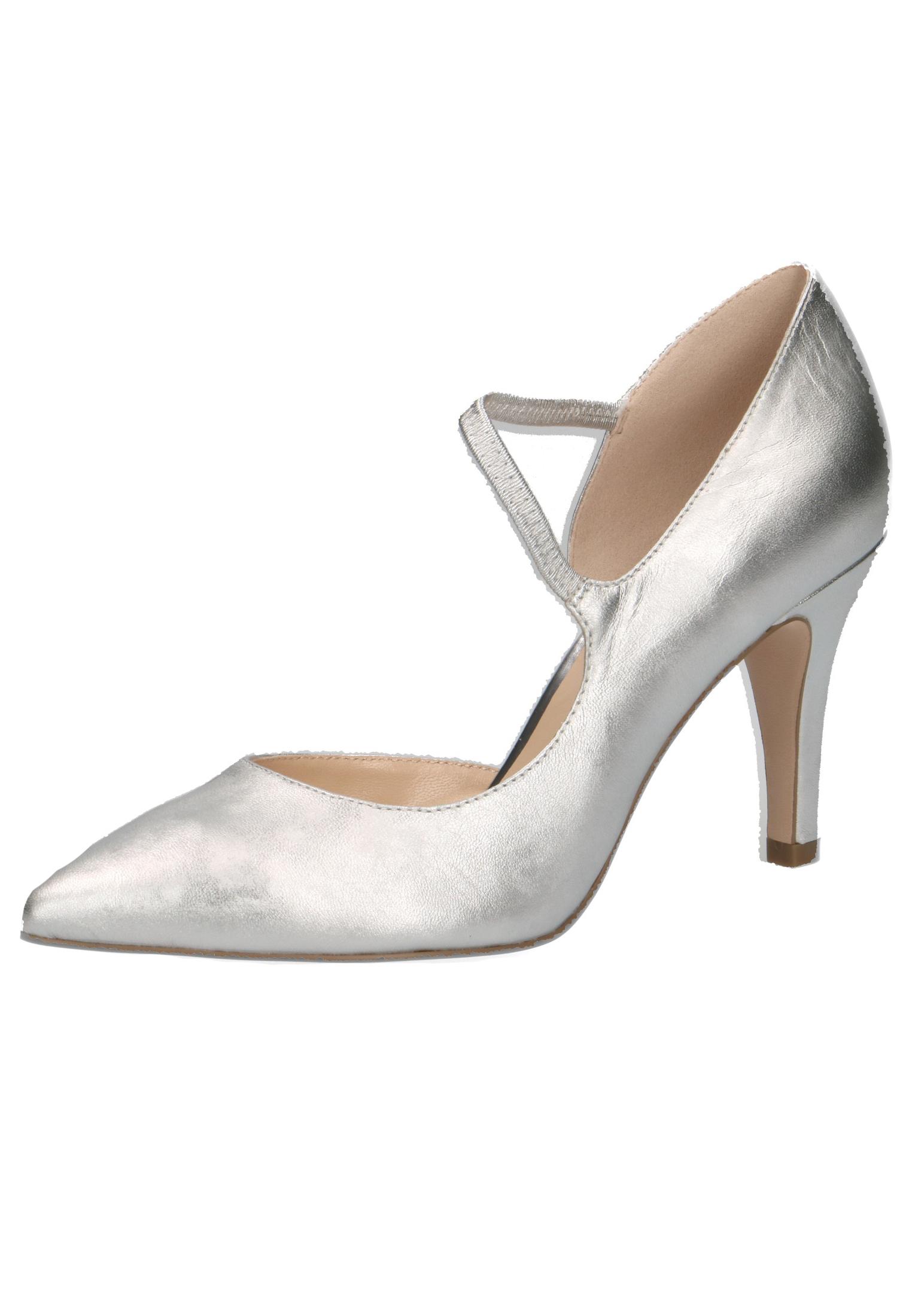 9 966 Leder Schwarz Silver Pumps Satin High 24402 Heel Silber 22 Damen Caprice Sling vYf6g7yb