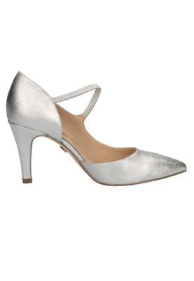 Caprice 9-24402-22 966 Damen Leder Silver Satin Schwarz High-Heel Sling Pumps Silber – Bild 2