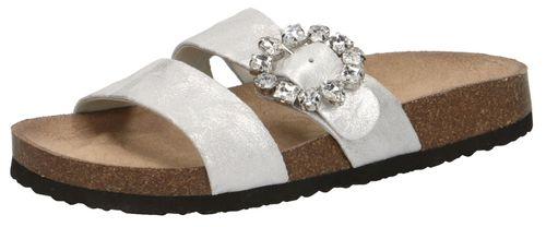 Caprice Damen Pantolette Hausschuh Silber 9-27402-22 926 Silver Shine Silber – Bild 1