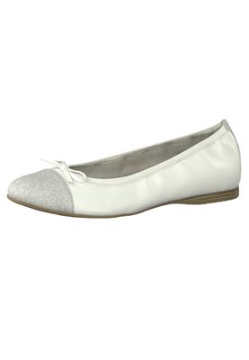 Tamaris 1-22129-22 100 Damen White Weiss Leder Ballerina mit TOUCH-IT Sohle