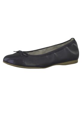 Tamaris 1-22129-22 805 Ladies Navy Dark Blue Leather Ballerina with TOUCH-IT sole – Bild 1