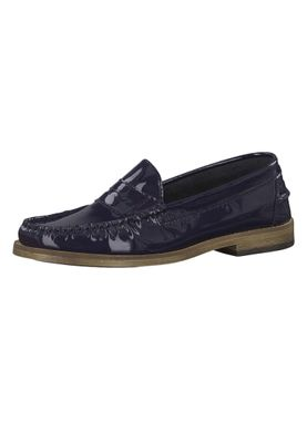 Tamaris 1-24211-22 837 Damen Navy Patent Leather Blau Leder Mokassin Slipper – Bild 1