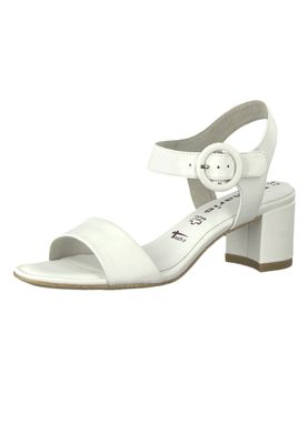 Tamaris 1-28324-22 117 Damen White Leather Weiss Sandale Sandalette mit TOUCH-IT Sohle – Bild 1