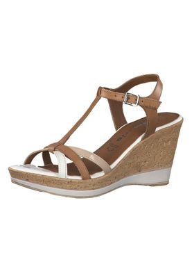 Tamaris 1-28347-22 392 Damen Cognac Comb Braun Wedge Platform Sandals Sandaletten – Bild 1