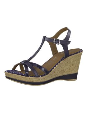 Tamaris 1-28347-22 891 Damen Navy Dots Blau Wedge Platform Sandals Sandaletten – Bild 1