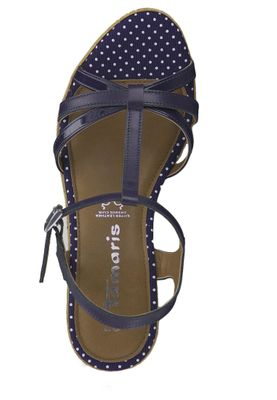 Tamaris 1-28347-22 891 Damen Navy Dots Blau Wedge Platform Sandals Sandaletten – Bild 5