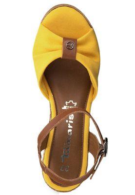 Tamaris 1-28341-22 634 Womens Sun Cognac Yellow Wedge Platform Sandals Sandals – Bild 6