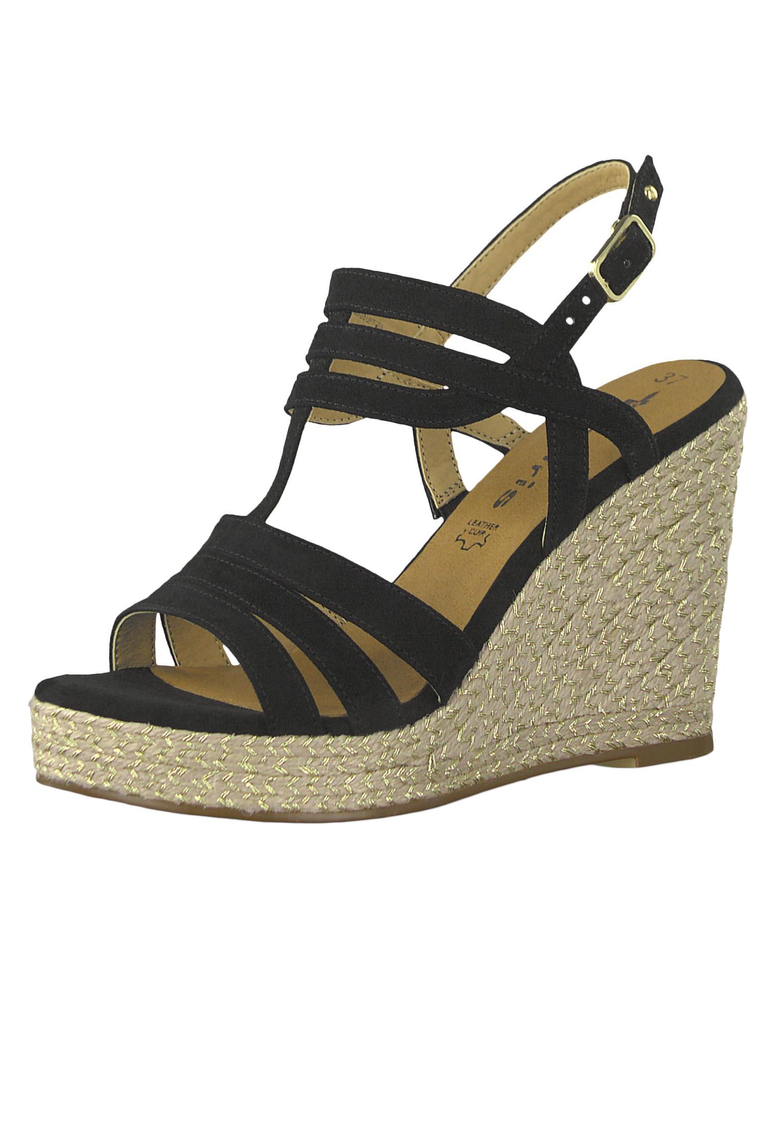 Tamaris 1 28372 22 001 Damen Black Schwarz Wedge Platform Sandals Sandaletten