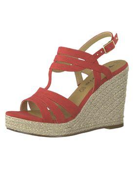 Tamaris 1-28372-22 515 Ladies Lipstick Red Wedge Platform Sandals Sandals – Bild 2