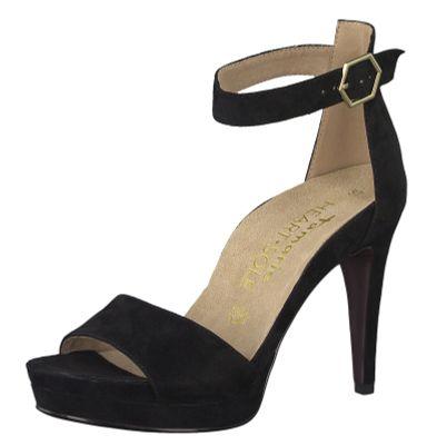 Tamaris 1-28377-22 004 Damen Black Suede Schwarz Plateau Sandaletten Platform Sandals Heart & Sole – Bild 1