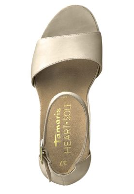 Tamaris 1-28377-22 550 Damen Powder Leather Creme Beige Plateau Sandaletten Platform Sandals Heart & Sole – Bild 5