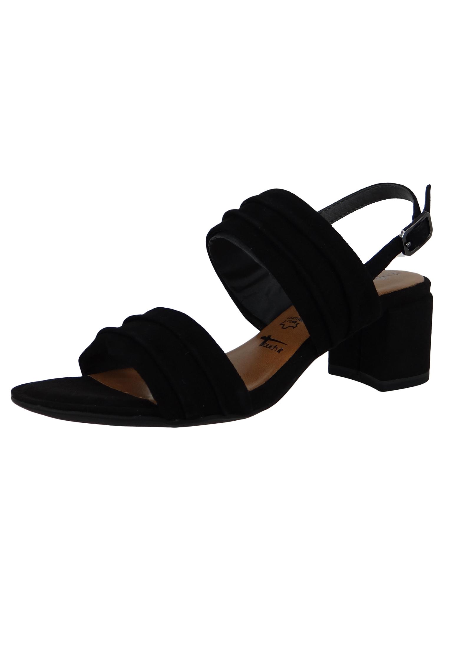 Tamaris 1 28386 22 004 Damen Black Suede Schwarz Sandale Sandalette mit TOUCH IT Sohle