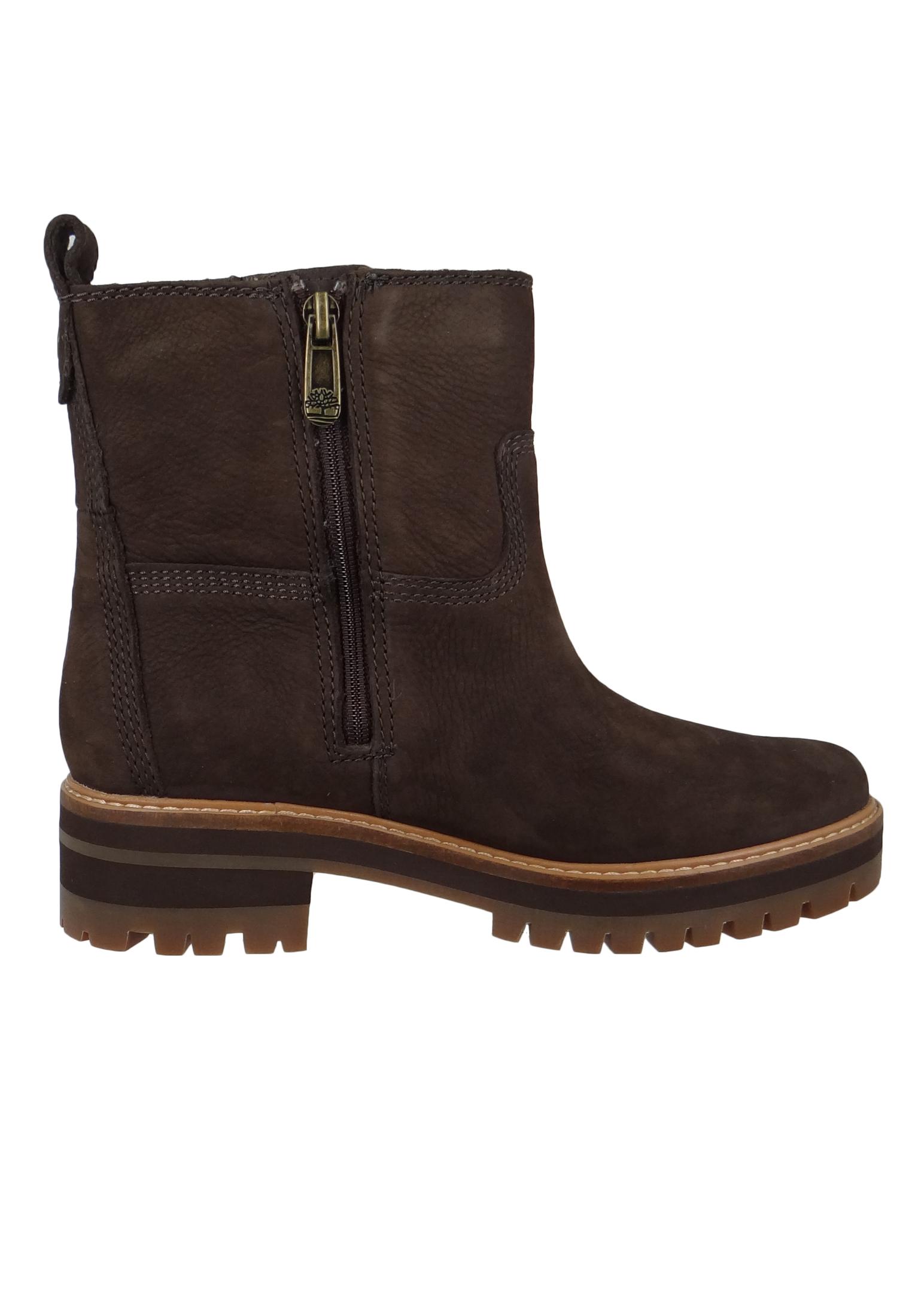 Timberland A2576 Courmayeur Valley Faux Fur Boot Damen Leder Stiefelette Dark Brown Nubuck Braun