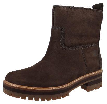 Timberland A2576 Courmayeur Valley Faux Fur Boot Damen Leder Stiefelette Dark Brown Nubuck Braun – Bild 1