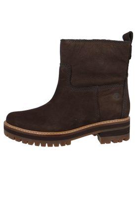 Timberland A2576 Courmayeur Valley Faux Fur Boot Damen Leder Stiefelette Dark Brown Nubuck Braun – Bild 2