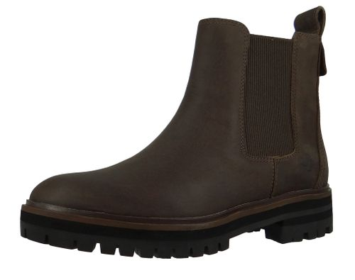 Timberland A29AH London Square Double Gore Chelsea Boot Damen Leder Stiefelette Taupe Full-Grain Grau – Bild 1