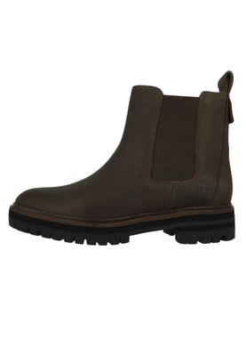 Timberland A29AH London Square Double Gore Chelsea Boot Damen Leder Stiefelette Taupe Full-Grain Grau – Bild 3