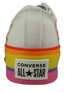 Converse Chucks Plateau Mehrfarbig 564992C  Chuck Taylor All Star Rainbow - OX Vintage White Pale  Putty – Bild 3