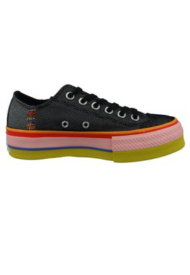 Converse Chucks Plateau Schwarz 564994C  Chuck Taylor All Star Rainbow - OX Black White Coastal Pink – Bild 4