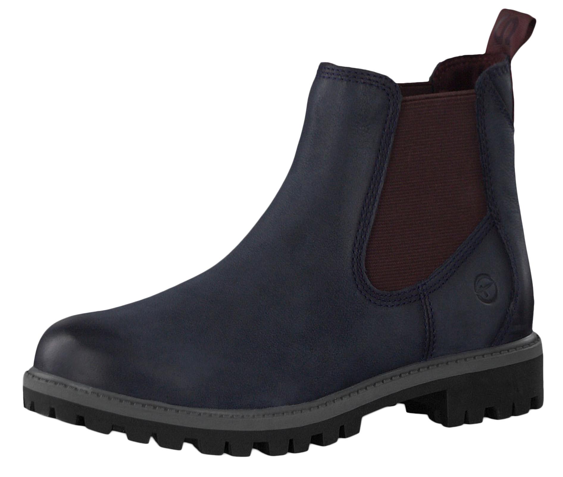 Tamaris 1 25401 23 817 Damen Stiefelette Chelsea Boots NavyBordeaux Blau mit TOUCH IT Sohle