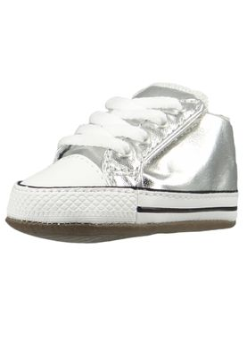 Converse Baby Chucks Silber Chuck Taylor All Star Cribster Metallic Canvas Mid METALLIC GRANITE/NATURAL IVORY – Bild 1