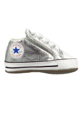 Converse Baby Chucks Silber Chuck Taylor All Star Cribster Metallic Canvas Mid METALLIC GRANITE/NATURAL IVORY – Bild 4