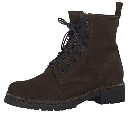Tamaris 1-25268-23 361 Damen Schnürschuhe Stiefelette Boots Leder Cafe Dunkelbraun – Bild 1