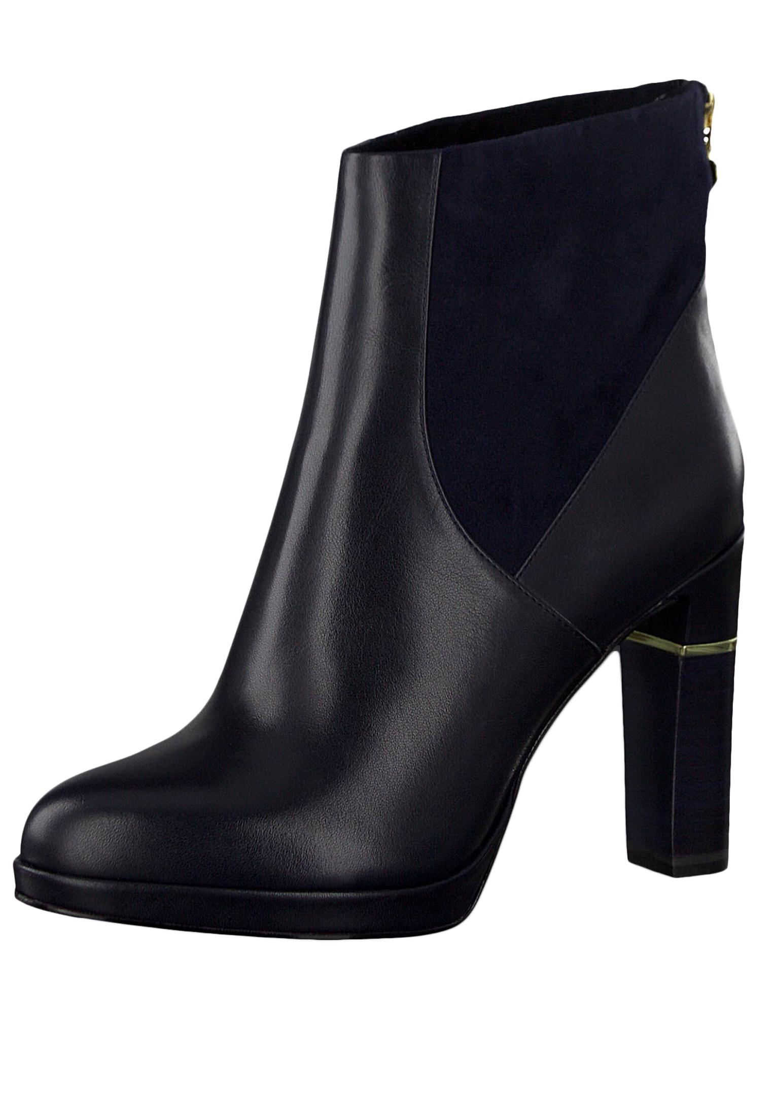 Tamaris 1 25303 23 805 Damen Stiefelette High Heeled Ankle Boot Leder Navy Dunkelblau