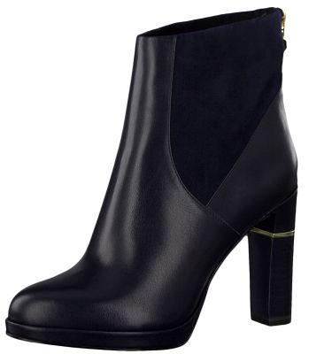 Tamaris 1-25303-23 805 Damen Stiefelette High Heeled Ankle Boot Leder Navy Dunkelblau – Bild 1