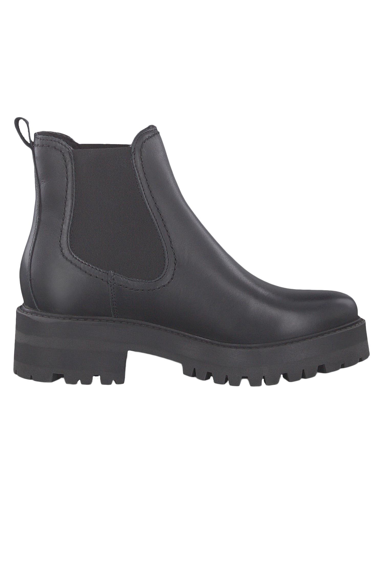 Tamaris 1 25445 23 003 Damen Stiefelette Chelsea Boot Leder Black Leather Schwarz
