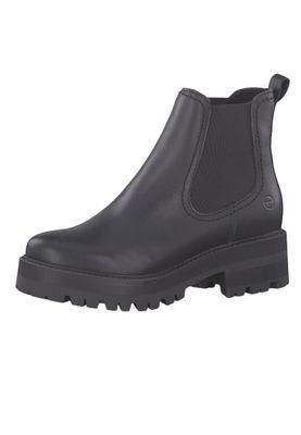 Tamaris 1-25445-23 003 Damen Stiefelette Chelsea Boot Leder Black Leather Schwarz – Bild 1
