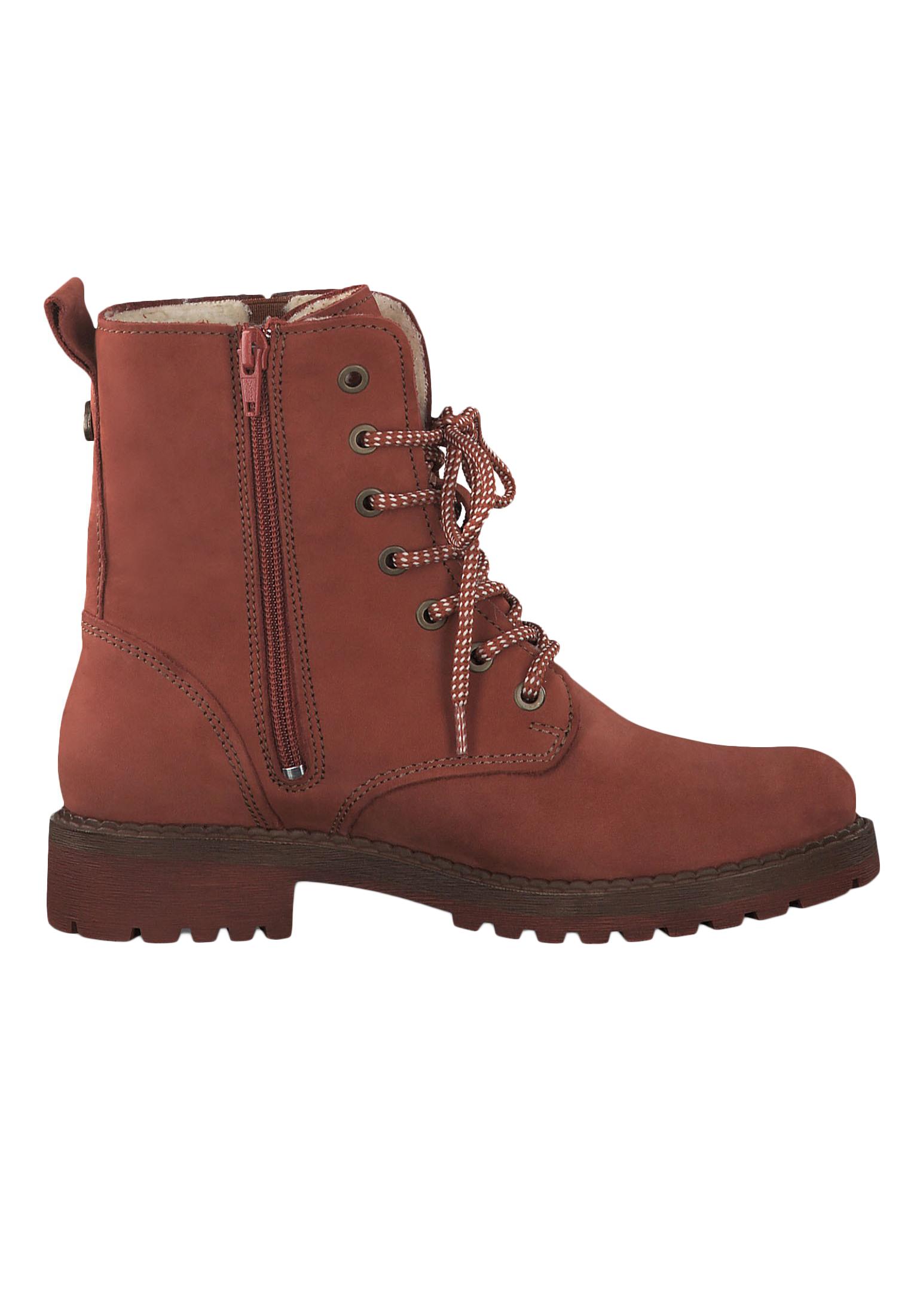 Tamaris 1 26267 23 540 Damen Stiefelette Lace Up Boots Leder Brick Rot mit Warmfutter