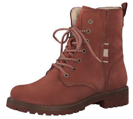 Tamaris 1-26267-23 540 Damen Stiefelette Lace-Up Boots Leder Brick Rot mit Warmfutter – Bild 1