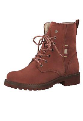Tamaris 1-26267-23 540 Damen Stiefelette Lace-Up Boots Leder Brick Rot mit Warmfutter – Bild 2