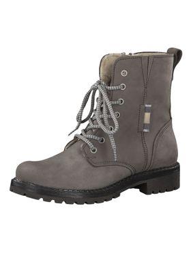Tamaris 1-26267-23 254 Damen Stiefelette Lace-Up Boots Leder Light Grey Grau mit Warmfutter – Bild 1