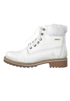 Tamaris 1-26294-23 100 Damen Stiefelette Lace-Up Boots Leder White Weiß mit Warmfutter – Bild 3