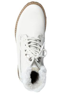 Tamaris 1-26294-23 100 Damen Stiefelette Lace-Up Boots Leder White Weiß mit Warmfutter – Bild 5