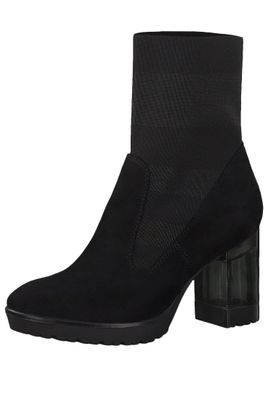 Tamaris 1-25304-23 012 Damen Stiefelette High Heeled Ankle Boot Black Stripe Schwarz mit TOUCH-IT Sohle und Stretch Schaft – Bild 1