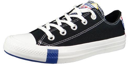 Converse Chuck Schwarz 166738C Chuck Taylor All Star Logo Stacked OX Black Rush Blue – Bild 1