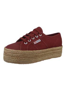 Superga Schuhe Damen Sneaker 2790 COTU Plateau Espadrille Weinrot Oxblood – Bild 2