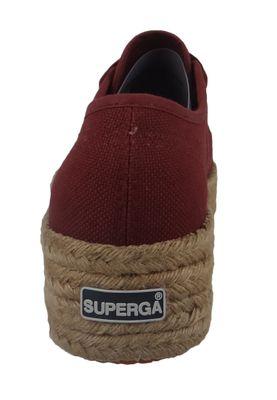Superga Schuhe Damen Sneaker 2790 COTU Plateau Espadrille Weinrot Oxblood – Bild 4