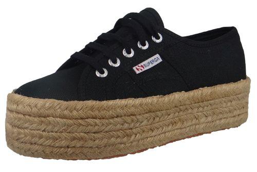 Superga Schuhe Damen Sneaker 2790 COTU Plateau Espadrille Schwarz Black – Bild 1