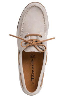 Tamaris 1-23616-24 375 Damen Antelope Hellgrau Leder Bootsschuh – Bild 4