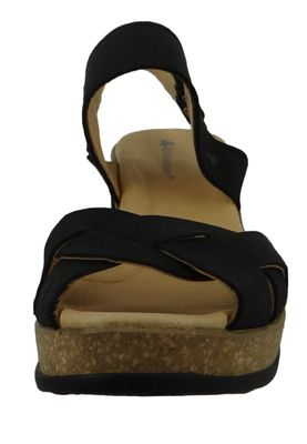 El Naturalista N5008 Leaves Damen Leder Keil-Sandalette Leather Pleasant Black Schwarz – Bild 6